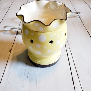 Scentsy Electric Warmer Dotty Yellow White Retired